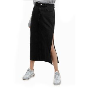 TNA | Aritzia Durrell Denim Midi Skirt Black
